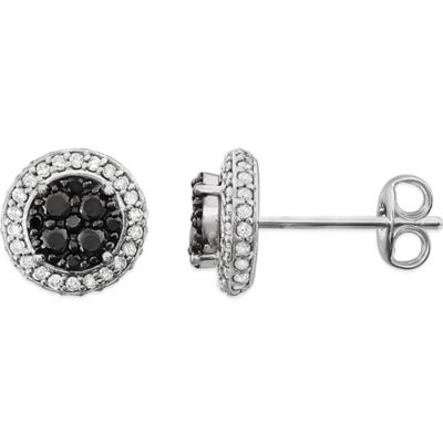 14K Black Stud Earrings