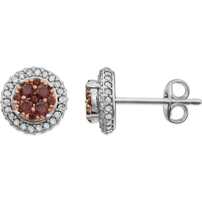 14K White Gold .28 cttw Brown and White Diamond Round Stud Earrings