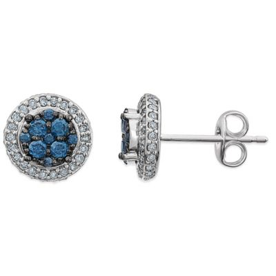 14K White Gold .28 cttw Blue and White Diamond Round Stud Earrings