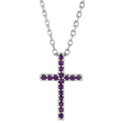 14K White Gold Amethyst 16-Inch Chain Cross Pendant Necklace