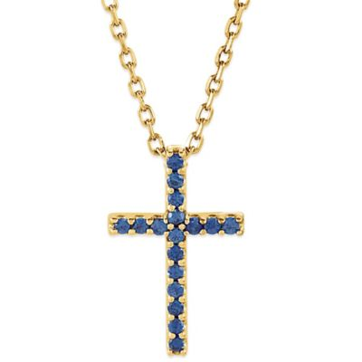 14K Yellow Gold Blue Sapphire16-Inch Chain Cross Pendant Necklace