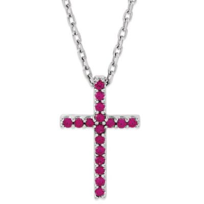 14K White Gold Ruby 16-Inch Chain Cross Pendant Necklace