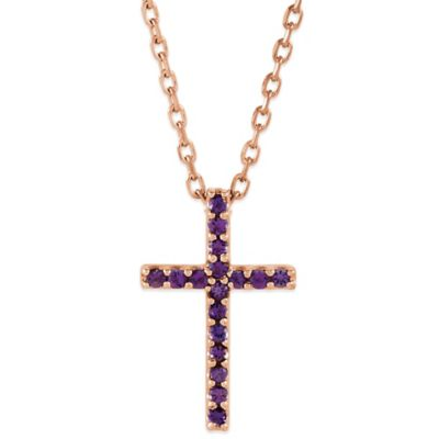 14K Rose Gold Amethyst 16-Inch Chain Cross Pendant Necklace