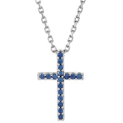 14K White Gold Blue Sapphire 16-Inch Chain Cross Pendant Necklace