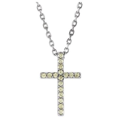 14K White Gold Peridot 16-Inch Chain Cross Pendant Necklace