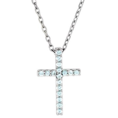 14K White Gold Aquamarine 16-Inch Chain Cross Pendant Necklace