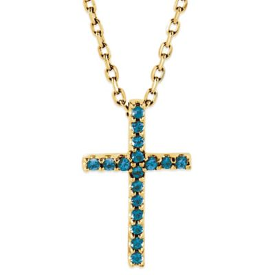 14K Yellow Gold Swiss Blue Topaz 16-Inch Chain Cross Pendant Necklace