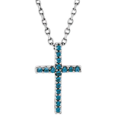 14K White Gold Swiss Blue Topaz 16-Inch Chain Cross Pendant Necklace