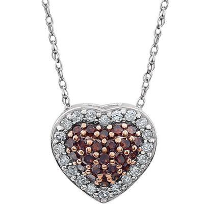 14K White Gold .20 cttw Brown and White Diamond 18-Inch Chain Heart Pendant Necklace