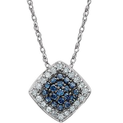 14K White Gold .18 cttw Blue and White Diamond Square 18-Inch Halo Pendant Necklace