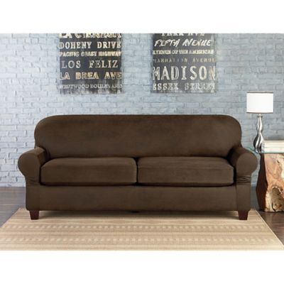 Sure Fit® Vintage Leather Individual Cushion 2-Seat Sofa Slipcover in Brown