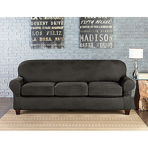 Fit® Vintage Leather Individual Cushion 3Seat Sofa Slipcover in Grey