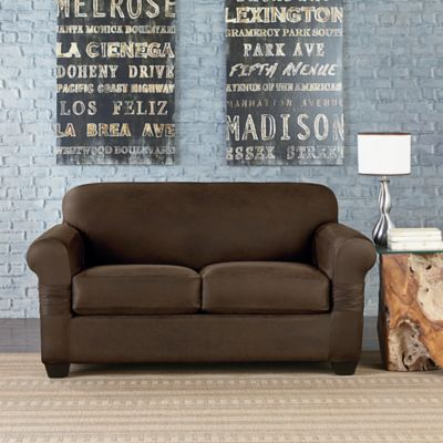 Sure Fit® Vintage Leather Individual Cushion Love Seat Slipcover in Brown