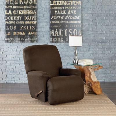 Sure Fit® Vintage Leather Recliner Slipcover in Brown