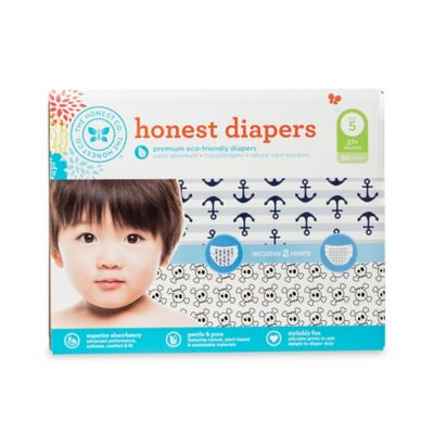 Honest 50-Pack Size 5 Diapers in Anchors/Skulls Patterns