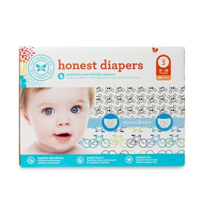 Honest 68-Pack Size 3 Diapers in Bicycles/Skulls Patterns