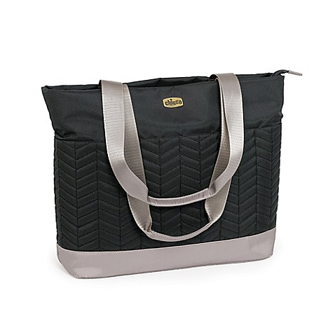 chicco chevron travel diaper tote in black. Black Bedroom Furniture Sets. Home Design Ideas
