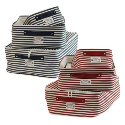 Nautica Medium Canvas Storage Tote in Red Stripe