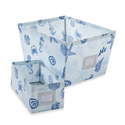 Large Seashell Print Storage Tote Bin in Beige/Blue