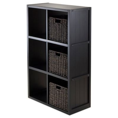 Winsome Trading Timothy 3-Tier Shelf with 3 Woven Baskets in Black/Chocolate