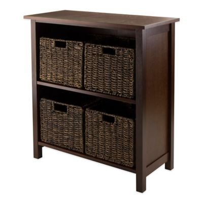 Winsome Trading Granville 2-Tier Storage Shelf with 4 Small Baskets in Antique Walnut