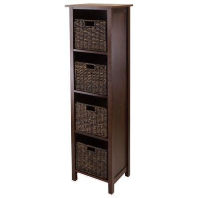 Winsome Trading Granville 4-Tier Storage Shelf with 4 Small Baskets in Antique Walnut/Chocolate