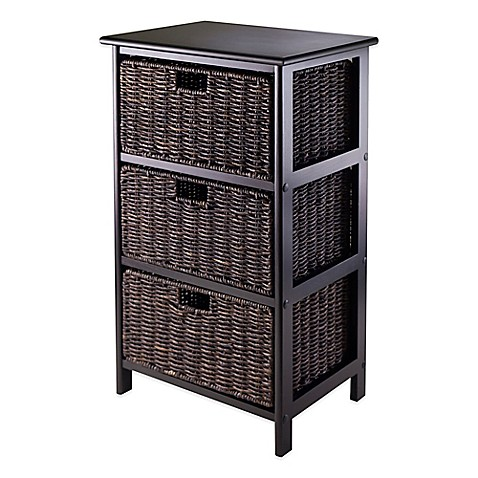 Buy winsome trading omaha 3 tier storage shelf with 3 - Bathroom storage baskets shelves ...