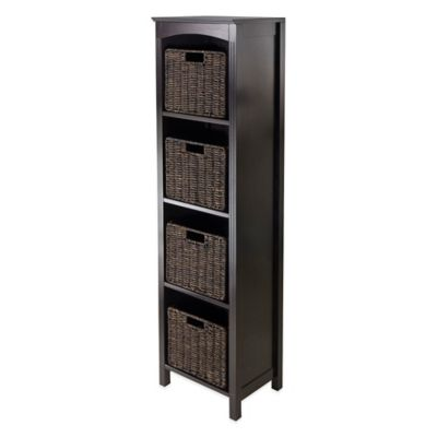Winsome Trading Terrace 4-Tier Tower Shelf with 4 Small Baskets in Espresso/Chocolate