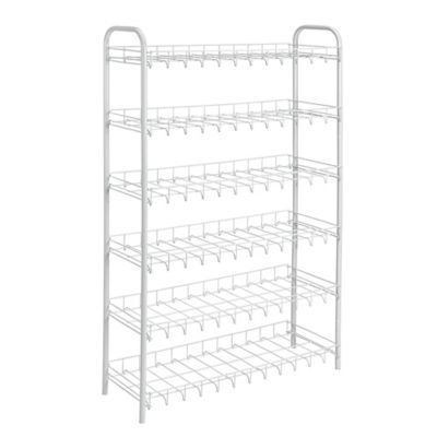18 Pair Patented Wire Shoe Rack in White