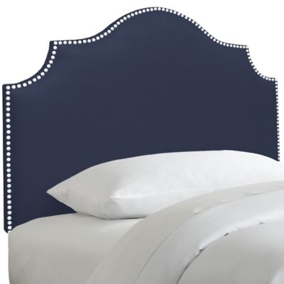 Skyline Furniture Nail Button Notched Twin Headboard in Duck Navy