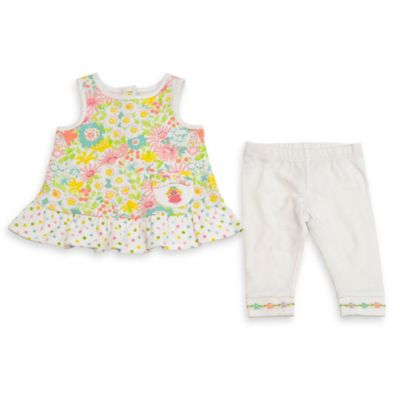Happi by Dena™ Size 18M 2-Piece Sleeveless Flower Peplum Top and Legging Set in Yellow/Pink