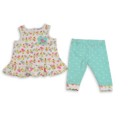 Happi by Dena™ Size 18M 2-Piece Sleeveless Bird Peplum Top and Legging Set in Pink/Blue