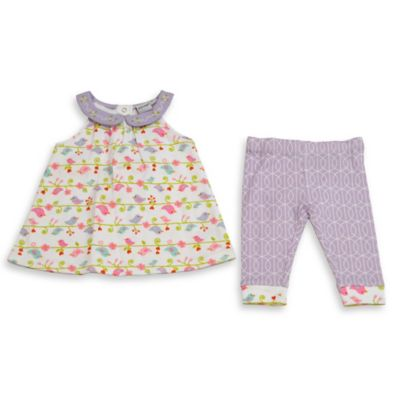 Happi by Dena™ Size 12M 2-Piece Bird Jewel Neckline Dress and Legging Set in Purple
