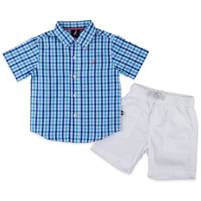 Nautica Kids® 2-Piece Checked Short Sleeve Woven Shirt and Drawstring Short Set