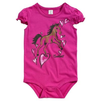 Carhartt® Size 9M Short Sleeve Pony Bodysuit in Pink