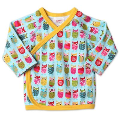 Layette (Preemie - 24M) > Zutano® Itzy Bitzy Owls Newborn Long Sleeve Kimono Top in Aqua