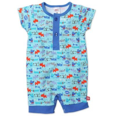 Zutano® Size 3M Le Chien Henley Short Sleeve Romper in Blue
