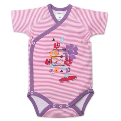 Zutano® Newborn Flower Jam Short Sleeve Bodysuit in Pink Stripe/Multi