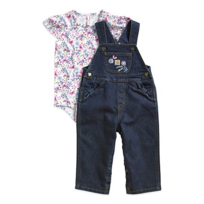 Carhartt® Size 9M 2-Piece Short Sleeve Floral Bodysuit and Denim Overall Set