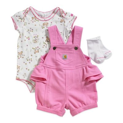 Carhartt® Size 6M 3-Piece Short Sleeve Pony Print Bodysuit, Pink Shortall, and Socks Set