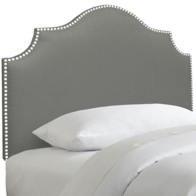 Skyline Furniture Nail Button Notched Twin Headboard in Duck Grey