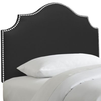 Skyline Furniture Nail Button Notched Full Headboard in Duck Black