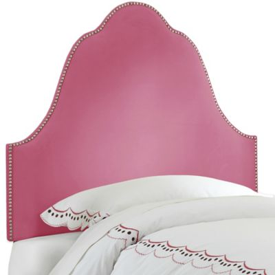Skyline Furniture Arch Nail Button Twin Headboard in Velvet Bling