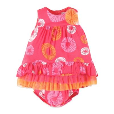 Petit Lem™ Tropical Love Size 18M 2-Piece Sleeveless Dress and Diaper Cover Set