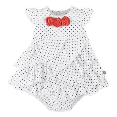 Petit Lem™ Cutie Rosie Size 18M 2-Piece Sleeveless Dress and Diaper Cover Set in White/Red