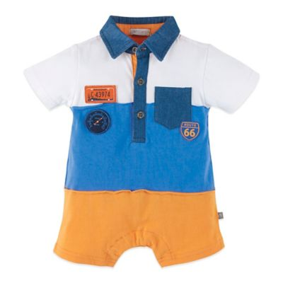 Petit Lem™ Size 18M Retro Colorblock Romper in White/Blue/Orange