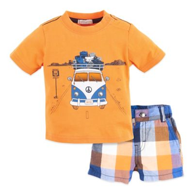 Petit Lem™ Size 3M 2-Piece Retro Road Shirt and Short Set in Orange Plaid