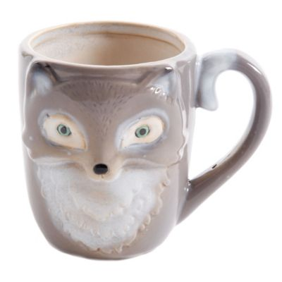 Figural Fox Mug in Grey