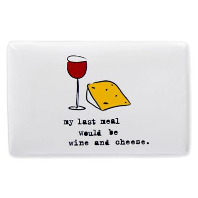 """My Last Meal"" Rectangular Ceramic Serving Dish in White"