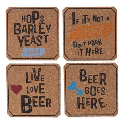 Beer-Themed Cork Coasters (Set of 4)